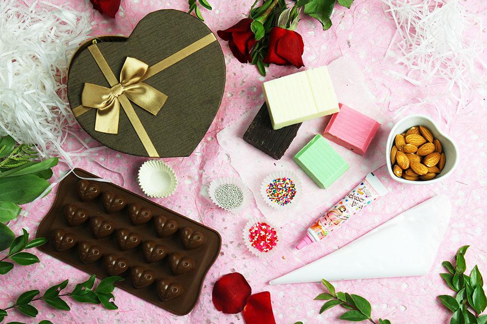 combo làm socola handmade nguyên liệu làm socola Nguyên liệu làm socola cho mùa Valentine 2019 combo thoat e 6