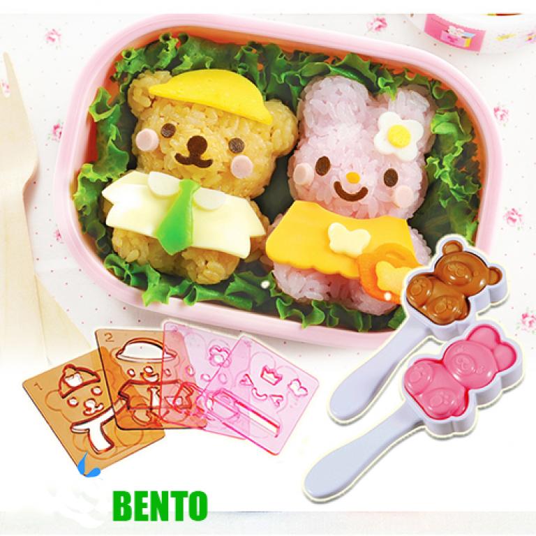 Dụng cụ làm cơm Bento-2 dụng cụ làm cơm bento Cơm ngon đẹp mắt với dụng cụ làm cơm Bento tiện dụng dung cu lam com bento 1