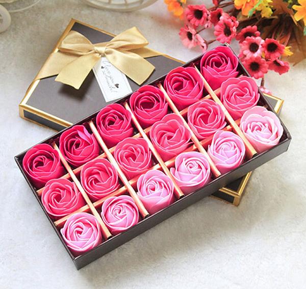 mua quà Valentine cho bạn gái quà valentine cho bạn gái 9 gợi ý quà Valentine cho bạn gái ý nghĩa nhất 2018 18Pcs Body Bath Soap Rose Petal Whitening Soap Wedding Decoration Party Gift