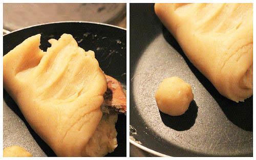 sên nhân bánh trung thu bằng bột đậu xanh rang chín 22