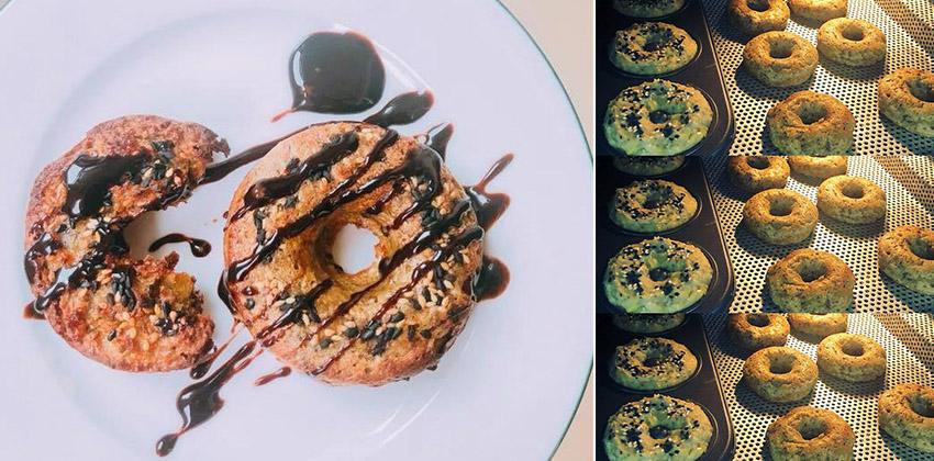 cách làm bánh donut 66 cách làm bánh donut Cách làm bánh Donut khoai lang yến mạch hạt chia ngon và lành cach lam banh donut 66