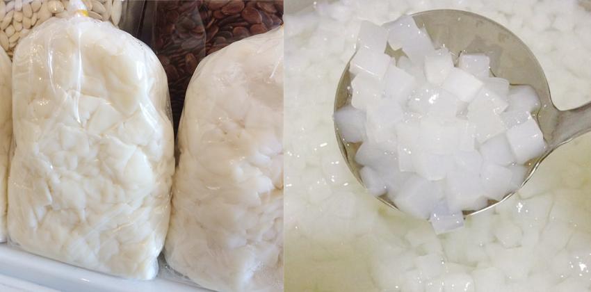 cách làm thạch dừa thô cách làm kem sữa hoa anh đào muối Cách làm kem sữa hoa anh đào muối siêu lạ cach lam thach dua tho