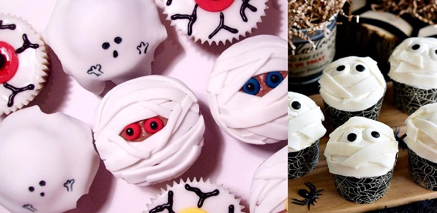 Cupcake xác ướp cực nghộ nghĩnh đón lễ Halloween 1 công thức cupcake socola kem bạc hà Công thức cupcake socola kem bạc hà mát lạnh dễ ăn cach lam banh cupcake xac uop cuc la don le halloween 1