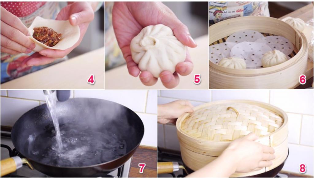Tạo hình bánh và hấp bánh bao