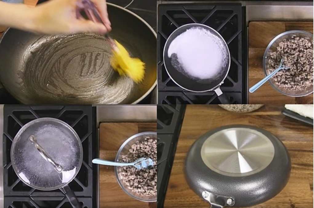 Tráng bánh cuốn bằng chảo chống dính