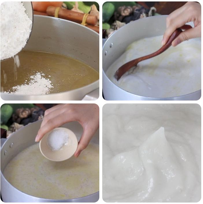 Nấu vỏ bánh giò