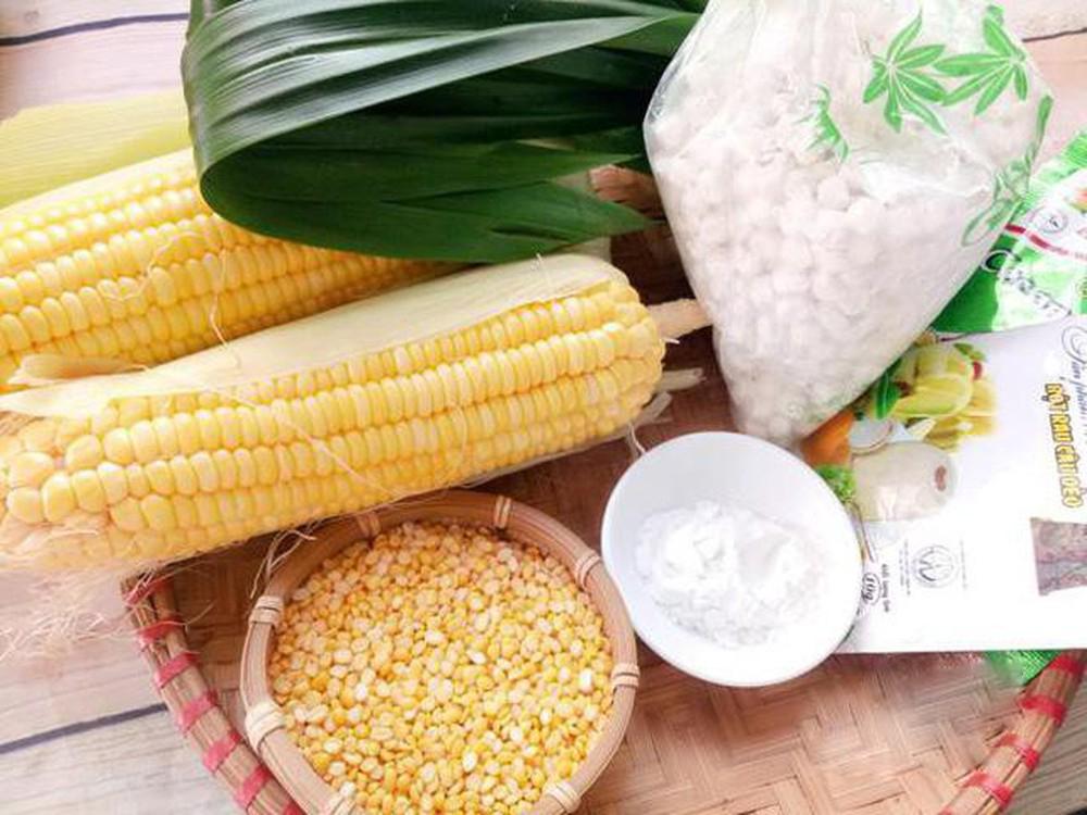 Nguyên liệu cho món chè bắp cốt dừa