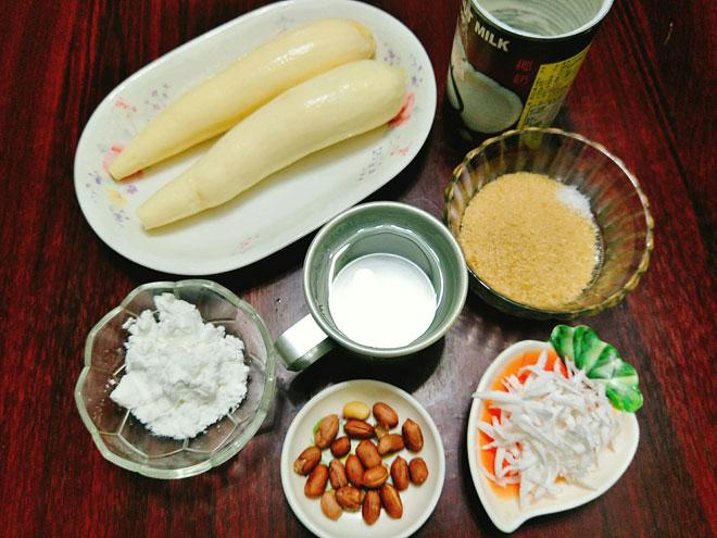 Nguyên liệu cho món chè sắn cốt dừa