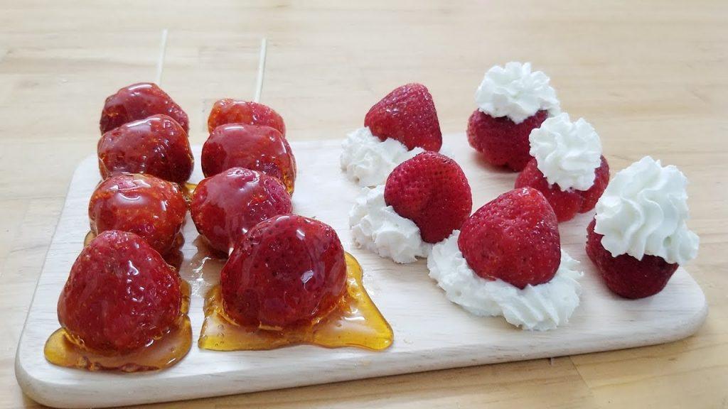 ăn hoa quả với kem tươi